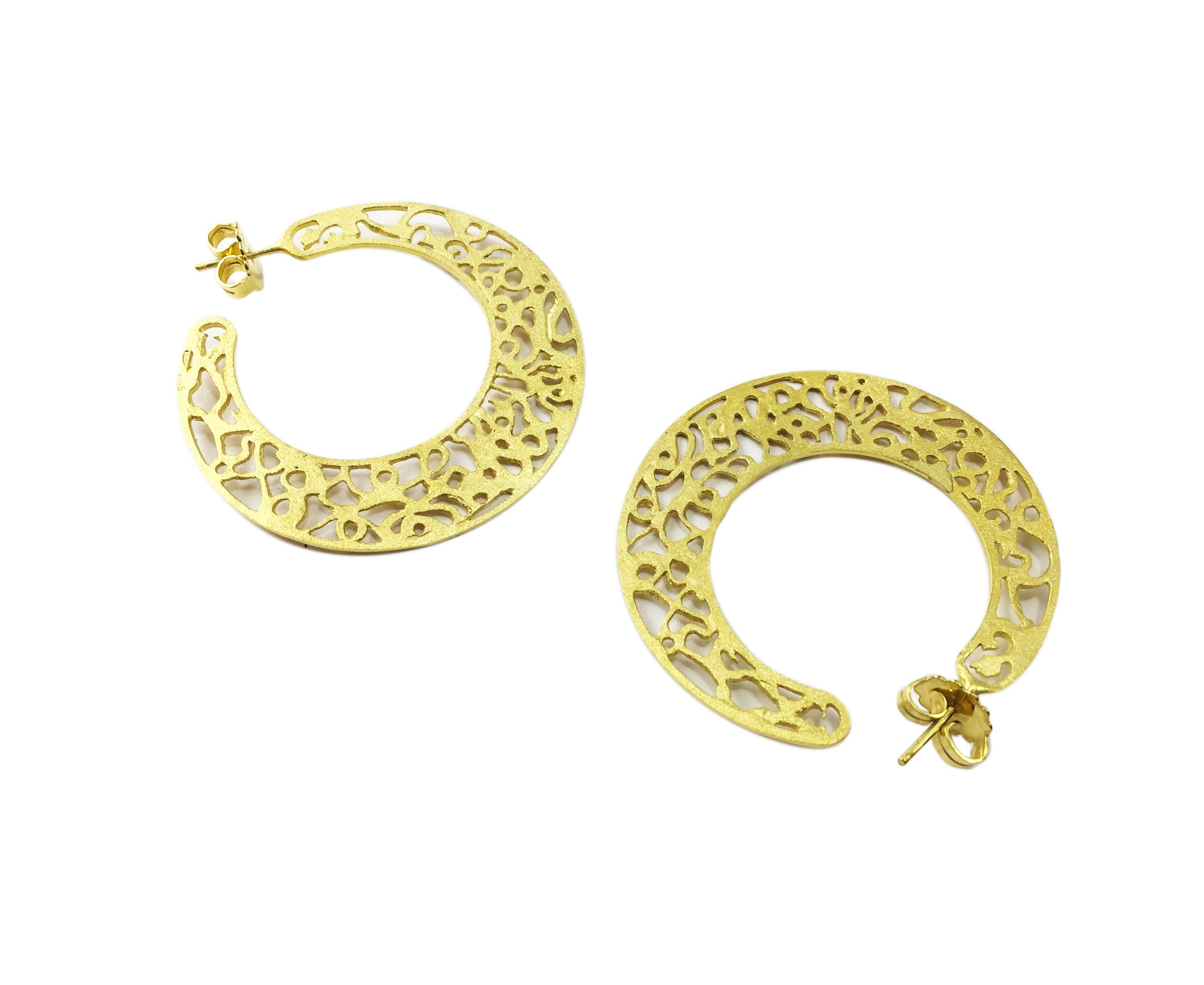 bonas oliver rara earrings jewellery plated round gold spinning stone